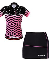 cheap -WOSAWE Women's Short Sleeves Cycling Jersey with Skirt - Fuchsia Bike Skirt Padded Shorts / Chamois Jersey, Quick Dry, Breathable,