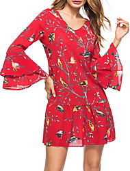 cheap -Women's Flare Sleeve Cotton Shift Dress - Floral Print