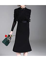 abordables -Femme Manche Papillon Coton Moulante Robe - Plissé, Couleur Pleine Mi-long