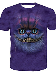 cheap -Men's Basic T-shirt - Animal Cat, Print Round Neck / Short Sleeve