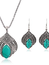 cheap -Women's Turquoise Jewelry Set - Vintage, Fashion Include Drop Earrings / Pendant Necklace Silver For Daily