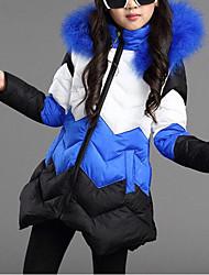 preiswerte -Mädchen Daunen & Baumwoll gefüttert Patchwork Polyester Winter Herbst Langarm Blau Fuchsia