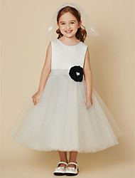 cheap -A-Line Knee Length Flower Girl Dress - Satin Tulle Sleeveless Scoop Neck with Buttons Sash / Ribbon Flower by LAN TING BRIDE®