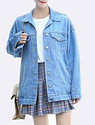 baratos -Mulheres Jaqueta jeans Básico-Palavras Bordado