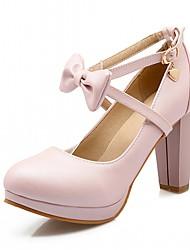 preiswerte -Damen Schuhe Kunstleder Frühling Herbst Neuheit Komfort High Heels Blockabsatz Runde Zehe Schleife für Party & Festivität Weiß Rot Blau
