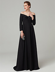 cheap -A-Line Princess Off Shoulder Floor Length Spandex Formal Evening / Black Tie Gala Dress with Draping Pleats by TS Couture®