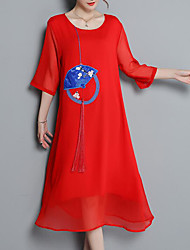 povoljno -Žene Jednostavan Shift Haljina Color block Midi