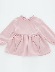 abordables -Robe Fille de Quotidien Couleur Pleine Coton Spandex Printemps Automne Manches Longues Mignon Rose Claire Kaki