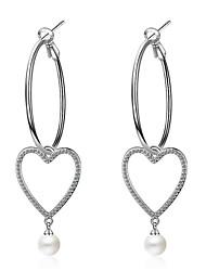 cheap -Women's Cubic Zirconia Hoop Earrings - Pearl, Sterling Silver, Zircon European, Korean, Fashion Silver For Wedding / Daily / Gold Plated