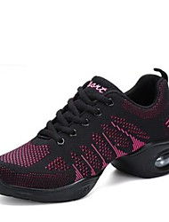 cheap -Women's Dance Sneakers Knit Sneaker Low Heel Customizable Dance Shoes Black / Fuchsia / Black / Red