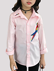 cheap -Girls' Daily Embroidered Shirt, Cotton Spring Fall Long Sleeves Cartoon White Blushing Pink
