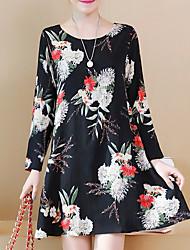 cheap -Women's Plus Size Basic Slim Sheath Dress - Floral