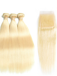 cheap -4 Bundles Peruvian Hair Straight Remy Human Hair Ombre Hair Weaves / One Pack Solution / Human Hair Extensions Human Hair Weaves With Baby Hair / Silky / Natural Hairline Golden Blonde Human Hair