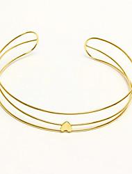 preiswerte -Damen Mehrschichtig Halsketten - vergoldet Herz Europäisch, Modisch, Mehrlagig Gold 38 cm Modische Halsketten Für Geschenk, Alltag