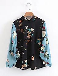Недорогие -Жен. Плиссировка Рубашка Уличный стиль Однотонный