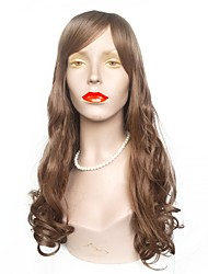 cheap -Synthetic Wig Wavy Layered Haircut Synthetic Hair Natural Hairline Brown Wig Women's Long Capless Brown