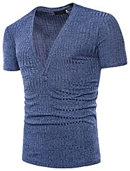 cheap -Men's Basic Street chic T-shirt - Solid Colored Jacquard