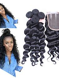 abordables -Cheveux Péruviens Ondulation Lâche Tissages de cheveux humains 4 Pièces Grosses soldes Trame cheveux avec fermeture Femme