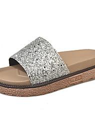 cheap -Women's Shoes Fabric PU Summer Comfort Slippers & Flip-Flops Walking Shoes Flat Heel Open Toe Bowknot for Casual Gold Black Silver