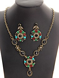 cheap -Women's Rhinestone Flower Jewelry Set 1 Necklace / Earrings - Elegant / Ethnic Black / Green Jewelry Set For Evening Party / Club