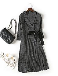 cheap -MMLJ Women's Sophisticated Slim A Line Dress Bow V Neck