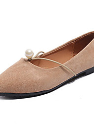 cheap -Women's Shoes Nubuck leather Spring Comfort Flats Flat Heel Pointed Toe Imitation Pearl for Black Brown Khaki
