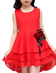 economico -Vestito Ragazza Quotidiano Poliestere Tinta unita Fantasia floreale Primavera Estate Manica corta Romantico Nero Rosso Rosa