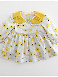 cheap -Girl's Daily Polka Dot Dress, Rabbit Fur Spring Summer Long Sleeves Street chic Gray Yellow