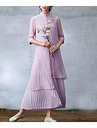 baratos -Mulheres Feriado Básico Seda Algodão Delgado Túnicas Vestido - Pregueado, Sólido Gola Redonda Médio