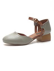 cheap -Women's Shoes PU Spring Summer Light Soles Sandals Flat Heel Open Toe Hook & Loop Hollow-out for Casual Beige Green Khaki