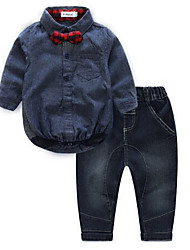 cheap -Baby Boys' Daily Solid Clothing Set, Cotton Spring Fall Simple Long Sleeves Navy Blue