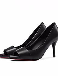 preiswerte -Damen Schuhe Leder Nappaleder Frühling Herbst Pumps Komfort High Heels Stöckelabsatz Peep Toe für Schwarz Silber