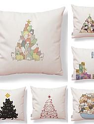 abordables -6 PC Textil Algodón / Lino Funda de almohada, Estampado Caricatura Novedad Simple Cuadrado