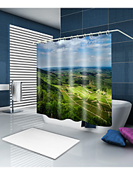 cheap -Shower Curtains & Hooks Classic Country Polyester Solid Colored Machine Made Waterproof Bathroom