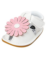 cheap -Girls' Shoes Leatherette Summer Crib Shoes First Walkers Comfort Sandals Magic Tape Flower for Baby Wedding Outdoor Yellow Red Green Pink