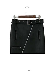 cheap -Women's Going out Street chic Faux Leather Pencil Skirts - Solid Colored