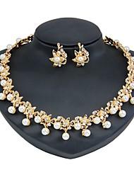 preiswerte -Damen Künstliche Perle / vergoldet Blumig Schmuck-Set 1 Halskette / Ohrringe - Blumig / Modisch Gold Schmuckset / Braut-Schmuck-Sets Für