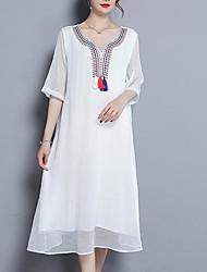 baratos -Mulheres Moda de Rua balanço Vestido Estampa Colorida Médio