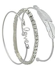 abordables -Femme Strass 3pcs Manchettes Bracelets - Rétro Basique Plume Argent Bracelet Pour Plein Air Rendez-vous