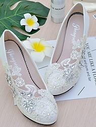 abordables -Femme Chaussures Dentelle / Similicuir Printemps / Automne A Bride Arrière Chaussures de mariage Talon Aiguille Bout rond Strass /