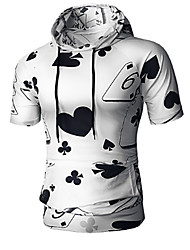 abordables -Tee-shirt Grandes Tailles Homme, Fleur Chinoiserie Capuche / Manches Courtes