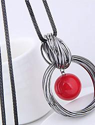Недорогие -Жен. Ожерелья с подвесками длинное ожерелье Скрученный Проволочная упаковка европейский Мода Искусственный жемчуг Сплав Белый Красный 70 cm Ожерелье Бижутерия Назначение Повседневные