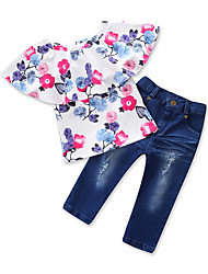 cheap -Girls' Daily Sports Floral Clothing Set, Cotton Polyester Spring Summer Short Sleeves Cute Active Blue