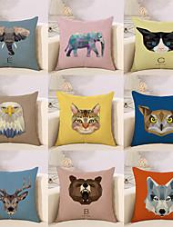 abordables -9 pcs Coton/Lin Taie d'oreiller Nouveaux Oreillers Housse de coussin, Mode Animal Géométrique Abstrait Style européen