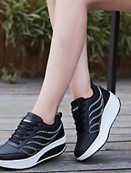 abordables -Femme Chaussures Polyuréthane Printemps / Automne Confort Basket Talon Plat Bout rond Blanc / Noir / Gris