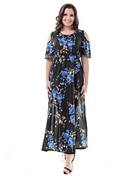 levne -Dámské Větší velikosti Cikánský Swing Šaty - Květinový Maxi Vysoký pas