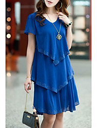 cheap -Women's Plus Size Street chic Loose Chiffon Dress - Solid Colored Blue, Ruffle