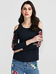 cheap -Women's Chic & Modern Cotton T-shirt - Floral, Modern Style