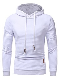 cheap -Men's Basic Hoodie - Solid Colored Check