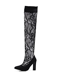 cheap -Women's Shoes Lace Spring & Summer Fashion Boots Boots Stiletto Heel Pointed Toe Over The Knee Boots Black / Wedding / Party & Evening